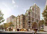 Wohnhochhaus für preiswertes Wohnen samt umgebender Flachbauten auf dem Baufeld 1